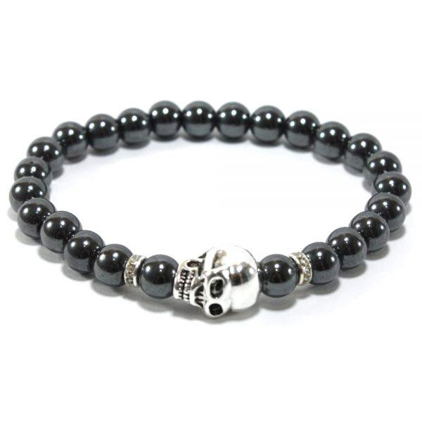 bracelet perles naturelles hematites-skull