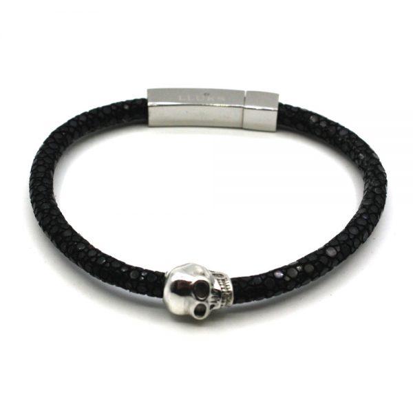 bracelet cuir galuchat skull tete mort argent