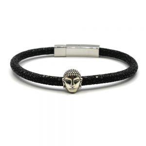 bracelet cuir galuchat perle charm argent bouddha