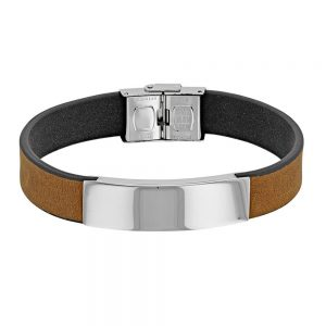bracelet-cuir-de-bovin-marron-clair-avec-plaque